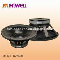 15 inch 600W RMS 1200 W program subwoofer speaker