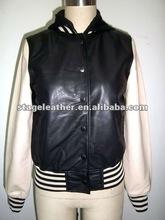 fashion ladies hooded leather jacket basketball