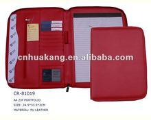 PU leather Portfolio with Memo pad, pockets, pen holder