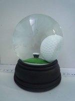 christmas customized acrylic liquid glass wooden base golf ball globe