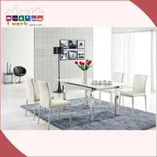 Milk White Extension Tempered Glass Dining Table Fabulous Dining Room Glass Tables 1806E-E