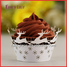 Christmas Deer Wrapping Liners &Party Cupcake Wrapper Cake Decorations&Wedding Paper Crafts Birthday Xmas Decorations
