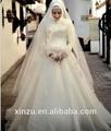 custom made frete grátis apliques de cetim de organza laço gola alta manga comprida vestido de baile vestido de casamento muçulmano