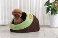 Cat house warm flower plush round dog bed/pet bed