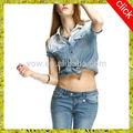 venta al por mayor de china el nuevo de verano de la mujer de gradiente de rocío bañada hombro tela dril de algodón camisa casual con mangas cortas