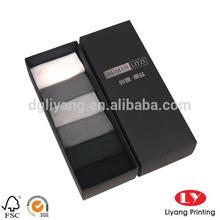 Custom made black paper box print your own logo for men's socks packaging