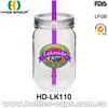 20Oz promotional plastic mason straw jar without handle