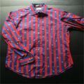 impreso y llanura tejido de color rojo azul rayas un ajuste a medida vestido casual camisa de hombre