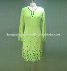 Fashion elegant green islamic clothing arabic dubai abaya kaftan style dress