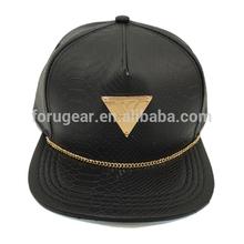 5 panel flat brim metal plate faux leather custom snapback cap