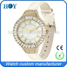 quartz stainless steel watches with diamond arounding