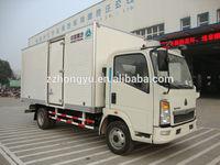 3-5tons aluminium right hand driver cargo tranportation truck/howo van cargo truck for sale