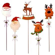 Outdoor Decoration Santa & Reindeer Heads Christmas Metal Garden Stakes