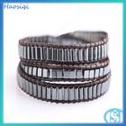 2015 trendy fashion black stone square hematite men jewelry,healing gemstone leather wrap bracelet