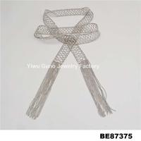 Silver Gray Metal Womens Fashion mesh Belt With Tassels