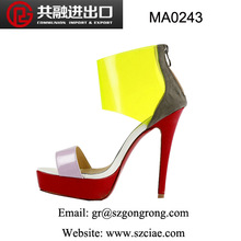 new model latest design fashion elegant sexy candy color matching transparent evening lady high heel sandals/shoes