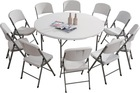 Fold-In-Half Round Table (plastic folding tables)
