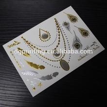 custom body temporary gold silver foil metallic flash tattoos