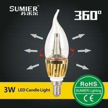 3w Glass shape LED Candle Light,E14 LED Candle Bulb,Chandelier Led Candle lamp