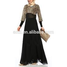 Sexy ladies long sleeve leopard pattern black maxi dress wholesale muslim woman dubai abaya islamic clothing