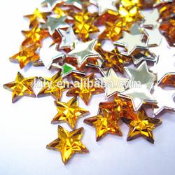 Bling sew on flat back acrylic rhinestones,gold color star shape strass