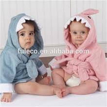 2014 Fashion 100% Cotton Shark Animal Velour Onesie Hooded Kids Bathrobe Wholesale