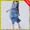 Latest woman sexy deep v-neck prom dress one piece demin jeans dress ,2014 fashion sleeveless dress desigs for ladies