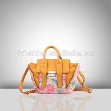 2491-Hot fashion handbags pu handbags ladies with flower printing
