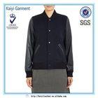 OEM fancy america navy women baseball jacket leather sleeves