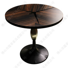 unique design black sandal wood and brushed stainless steel rotating dining table