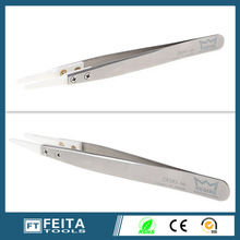 Heat Resistant flat Ceramic tip Tweezers for Industrial and microelectronics