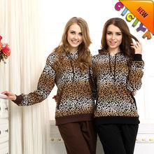 Womens Leopard hoody sportswear pajamas set custom French terry winter sportswear