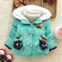 HFR-R-480 Children boutique clothing girls polka dot fleece lining hooded super warm winter coat