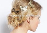 H794-067 women fashion accessories girls headwear beautiful cheap gold butterfly hair clips