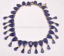 2015 blue rhinestone pendant bead necklace, choker statement necklces
