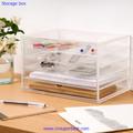 de escritorio de acrílico transparente caja de almacenamiento con 5 cajones para artículos de papelería