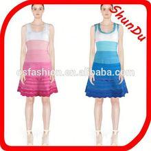 luxury strapless sexy ombre bandage dress,2014 fashion sexy beautiful mature women bandage dress
