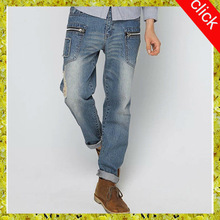 2015 cool latest design denim jeans with front pockets ,high quality funky damaged denim jeans,wholesale manufacturers