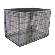 foldable Metal Dog Crate with Divider three doors