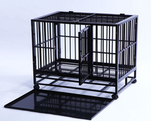 heavy duty with two Doors metal tray square tube folding metal pet kennel