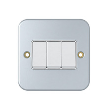 BS 10A 3 Gang 1 Way Plate metal wall Switch