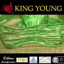 "1.5"" Wholesale Green Ruffle Metallic Ribbon Wedding Decoration/Gift Wrap/Party Decoration"