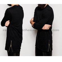 100%cotton black longline men double zipper t shirt design