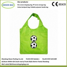 eco high quality foldable 190t polyester tote folds into a pvc packet