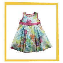 new fashion sleeveless girls printed dress