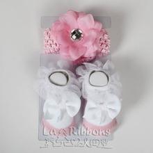 Baby accessories,flower headband,elastic headband & socks gift box,0-6M socks