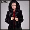 le meilleur design esprit 2014 noir manteau de fourrure pour les femmes avec le chapeau
