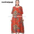 Lunkuo 2014 estiloindia viscose 100 maxi vestido boêmio padrão l142y035-1 laranja