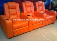 Top Quality Purple Recliner Sofa In Leather /VIP Cinema Sofa LS811