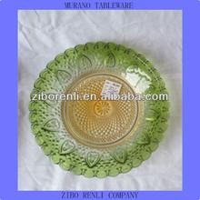 Personalized Art Decor Venice Glass Green Orange Colored Murano Tableware